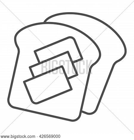 Toast Bread With Butter Thin Line Icon, Englishbreakfast Concept, Toast With Butter Vector Sign On W