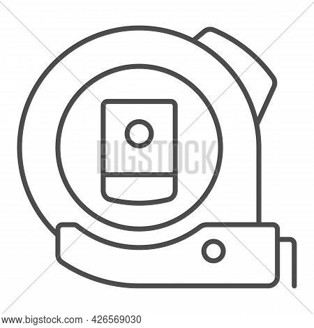Roulette Thin Line Icon, Construction Tools Concept, Ruler Tool Measuring Tape Vector Sign On White