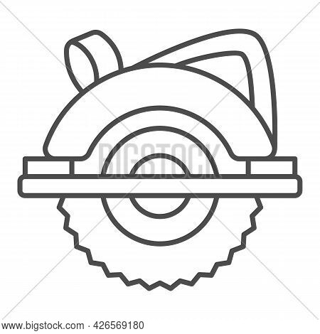 Circular Saw Thin Line Icon, Construction Tools Concept, Electric Circular Saw Vector Sign On White
