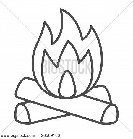 Firewood And Fire Thin Line Icon, Camping Concept, Celebration Bonfire Vector Sign On White Backgrou
