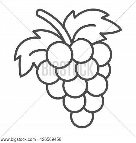 Bunch Of Grapes Thin Line Icon, Fruits And Berries Concept, Cluster Of Grapes Vector Sign On White B