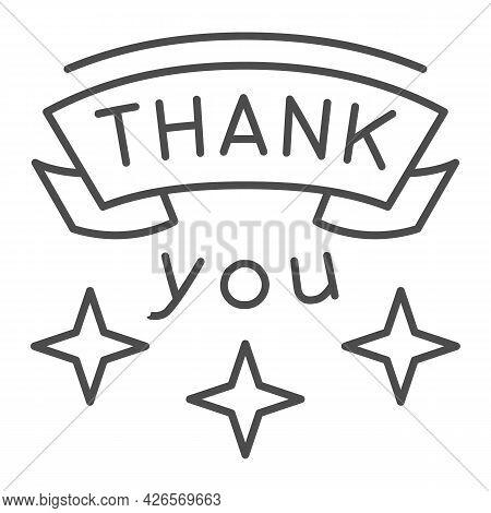 Inscription Gratitude Thin Line Icon, Thankfullness Appreciation Concept, Thank You Text Vector Sign