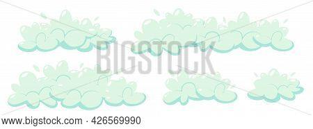 Soap Foam With Bubbles. Set Of Cartoon Shampoo And Soap Foam Suds. Vector Flat Illustration