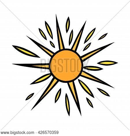 Handdrawn Yellow Sun. Colorful Shining Sun With Beams In Doodle Style. Black And White Vector Illust