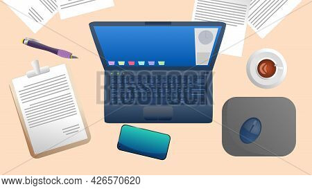 Desk With Documents And There Are Various Devices On The Table Such As Laptops, Documents On Clipboa