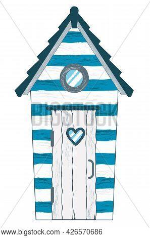 Beach House. Hut On The Coast. Vector Flat Illustration Isolated On White Background.