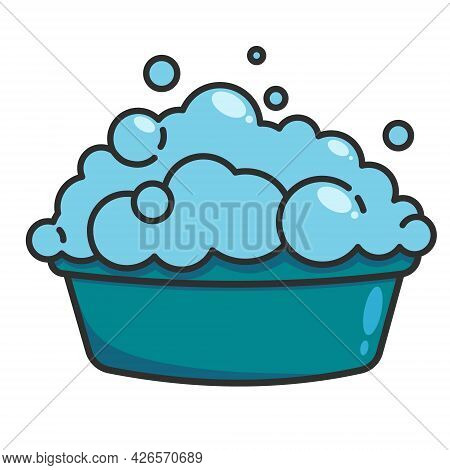 A Basin With A Soapy Solution For Washing Clothes. Vector Flat Illustration Isolated On White Backgr
