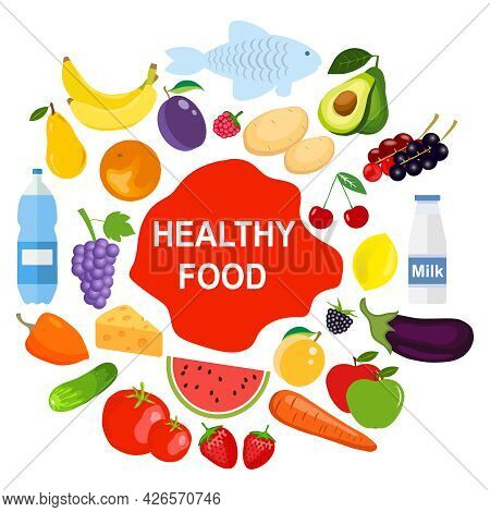 Healthy Food Concept, Healthy Food Products. Vector Illustration. Vector.