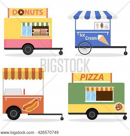 Street Fast Food Cart, Mobile Candy And Ice Cream Cart. Vector Illustration. Vector.