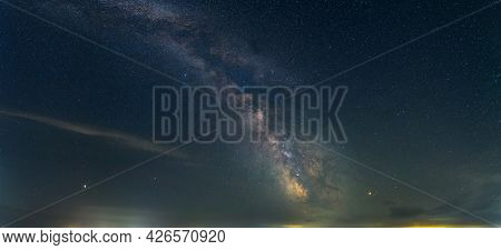 Panorama View Universe Space Shot Of Milky Way Galaxy With Stars On A Night Sky Background
