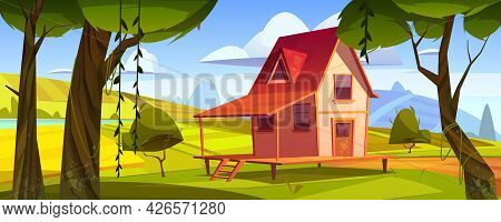 Wooden Farm House With Agriculture Fields And Garden. Vector Cartoon Summer Landscape Of Countryside