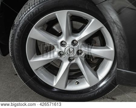 Novosibirsk, Russia - June 29, 2021: Lexus Rx, Car Wheel With Alloy Wheel And New Rubber On A Car Cl
