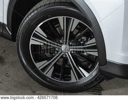 Novosibirsk, Russia - June 29, 2021: Mitsubishi  Eclipse Cross, Car Wheel With Alloy Wheel And New R