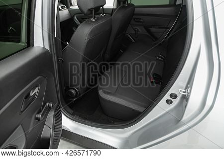 Novosibirsk, Russia - June 29, 2021: Renault Duster, Car Passenger And Driver Seats With Seats Belt.