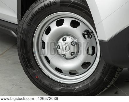 Novosibirsk, Russia - June 29, 2021: Renault Duster, Car Wheel With Alloy Wheel And New Rubber On A