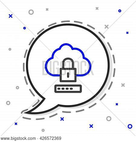 Line Cloud Computing Lock Icon Isolated On White Background. Security, Safety, Protection Concept. P