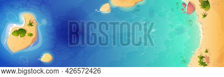 Sea Beach Top View Background, Tropical Ocean Coastline With Palm Trees And Rocks In Blue Clean Wate