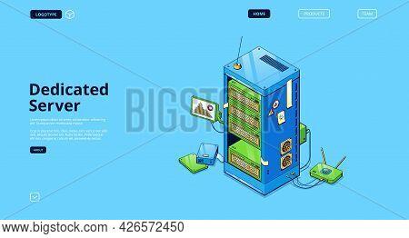 Dedicated Server Isometric Landing Page, Computer Data Storage Equipment, Pc Memory Database, Hardwa