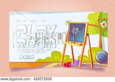 Playroom Banner With Furniture And Toys For Kids. Vector Landing Page, Kindergarten Or Daycare Cente