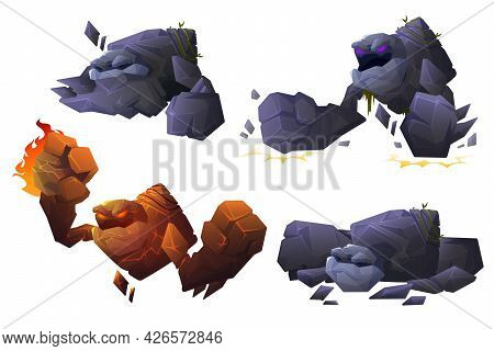 Stone And Lava Golem Characters In Different Poses Isolated On White Background. Vector Cartoon Set