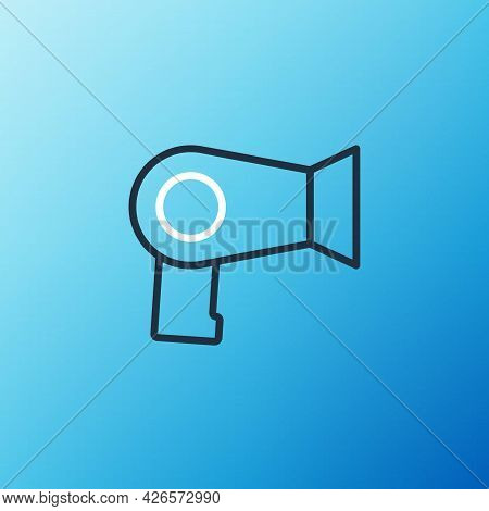 Line Hair Dryer Icon Isolated On Blue Background. Hairdryer Sign. Hair Drying Symbol. Blowing Hot Ai