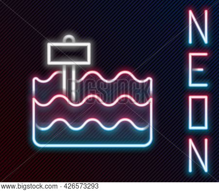 Glowing Neon Line Garden Bed Or Cultivation Bed Icon Isolated On Black Background. Colorful Outline