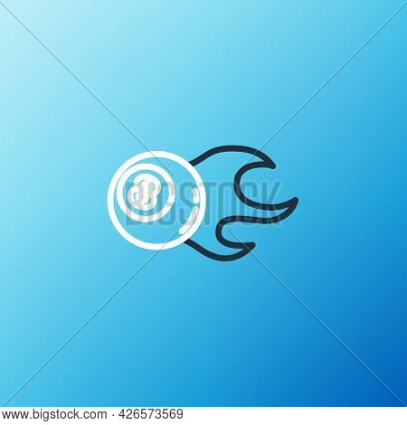 Line Billiard Pool Snooker Ball With Number 8 Icon Isolated On Blue Background. Colorful Outline Con