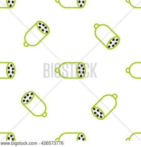 Line Salami Sausage Icon Isolated Seamless Pattern On White Background. Meat Delicatessen Product. V