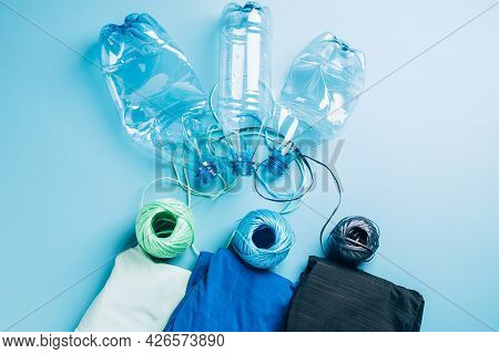 Polyester Fiber Synthetic Fabrics Eco-friendly Textile Recycled Recyclable Plastic Bottles. Reuse Re