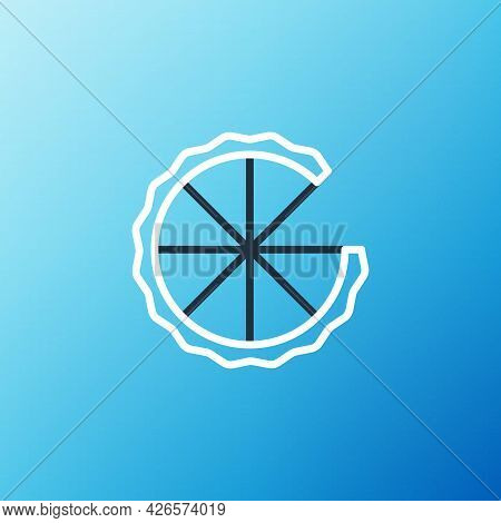 Line Homemade Pie Icon Isolated On Blue Background. Colorful Outline Concept. Vector