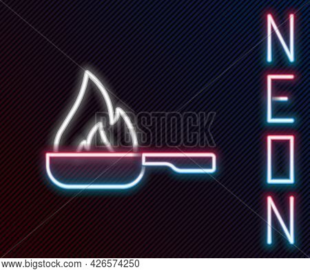Glowing Neon Line Frying Pan Icon Isolated On Black Background. Fry Or Roast Food Symbol. Colorful O