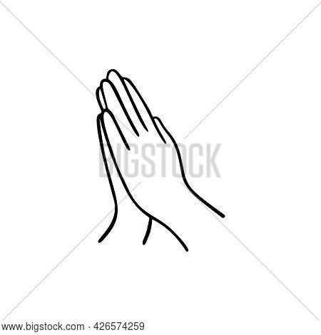 Pray Gesture Human Hand. Vector Doodle Illustration.
