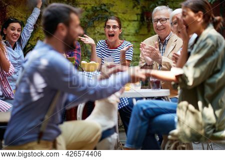 thrilled caucasian people witnessing proposal. selective focus