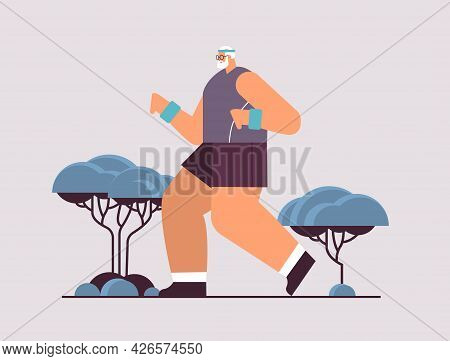Old Man In Sportswear Running Senior Male Pensioner Doing Physical Exercises Outdoors Activity And S