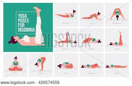 Yoga Poses For Insomnia. Young Woman Practicing Yoga Pose. Woman Workout Fitness, Aerobic And Exerci