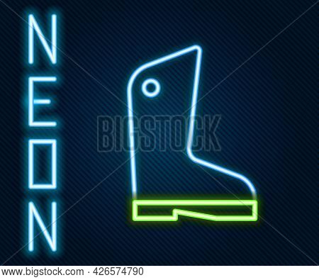 Glowing Neon Line Rubber Gloves Icon Isolated On Black Background. Latex Hand Protection Sign. House