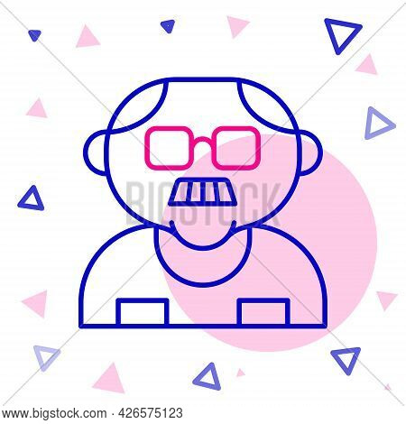 Line Grandfather Icon Isolated On White Background. Colorful Outline Concept. Vector