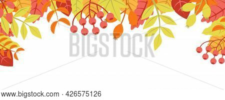 Autumn Nature Background With Leafage Pattern Concept. Horizontal Web Banner With Orange, Red And Ye