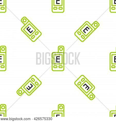 Line Light Meter Icon Isolated Seamless Pattern On White Background. Hand Luxmeter. Exposure Meter -