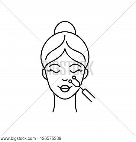 Microcurrents Medicine Treatment. Facial Treatment With Galvanic.. Icon In Line Art Style For Beauty