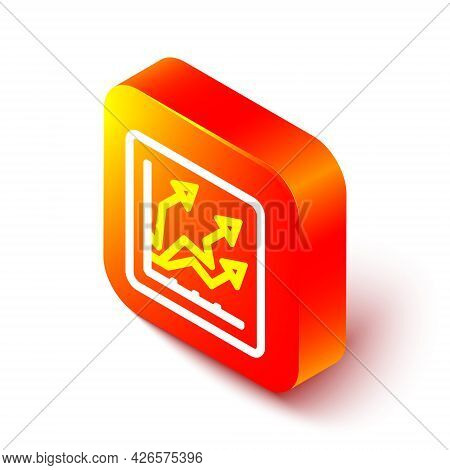 Isometric Line Financial Growth Increase Icon Isolated On White Background. Increasing Revenue. Oran