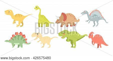Set Of Cute Carnivorous And Herbivorous Dinosaurs Isolated On White Background. Vector Illustration