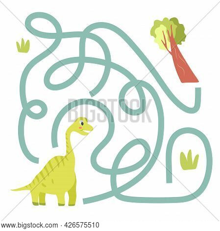 Cute Cartoon Dinosaur Maze Game. Labyrinth. Funny Game For Children Education. Vector Illustration