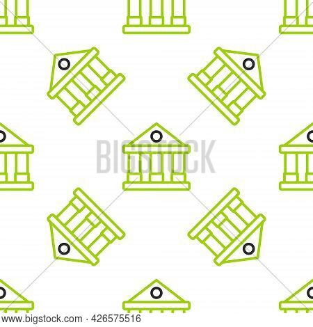 Line Courthouse Building Icon Isolated Seamless Pattern On White Background. Building Bank Or Museum