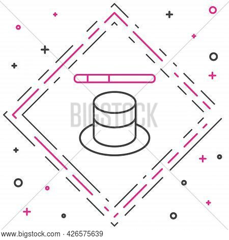 Line Magic Hat And Wand Icon Isolated On White Background. Magic Trick. Mystery Entertainment Concep