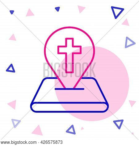 Line Map Pin Church Building Icon Isolated On White Background. Christian Church. Religion Of Church