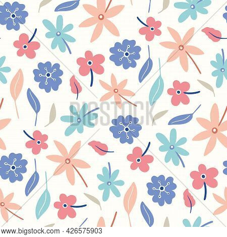 Floral Pattern Background. Multi-directional Seamless Repeat Design Of Cute Hand Drawn Flower Bouque