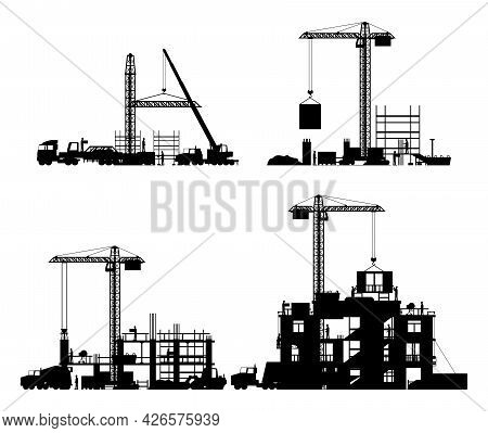 Construction Site Stages Silhouette Isolated. Different Stages Of Construction Process. Building Und