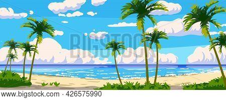 Tropical Resort Landscape Panorama. Sea Shore Beach, Exotic Palms, Coastline, Clouds, Sky, Summer Va