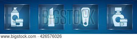 Set Cream Or Lotion Cosmetic Tube, Lipstick, Hand Mirror And Cream Or Lotion Cosmetic Tube. Square G